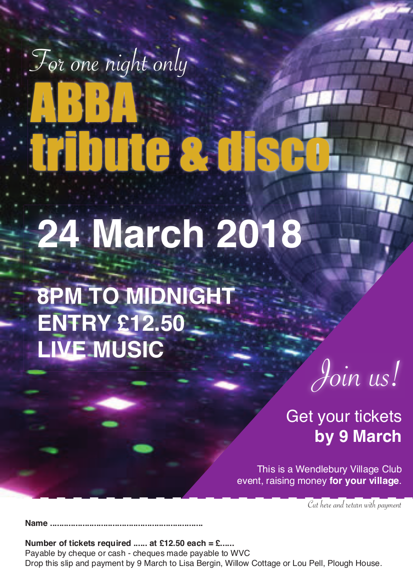 ABBA tribute night flyer